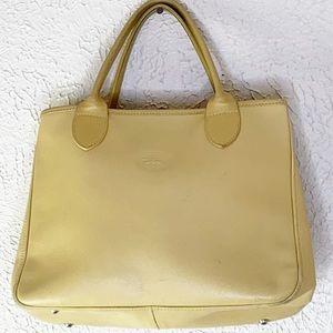 Vintage light yellow longchamp leather bag
